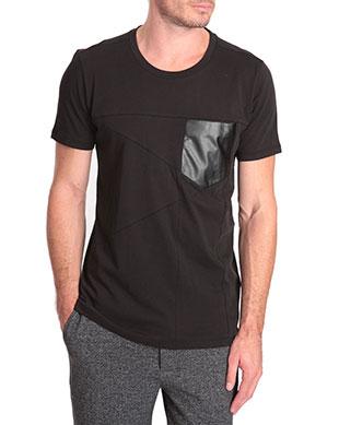 T-shirt poche cuir Hugo Boss