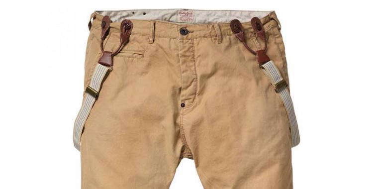 pantalon chino à bretelles