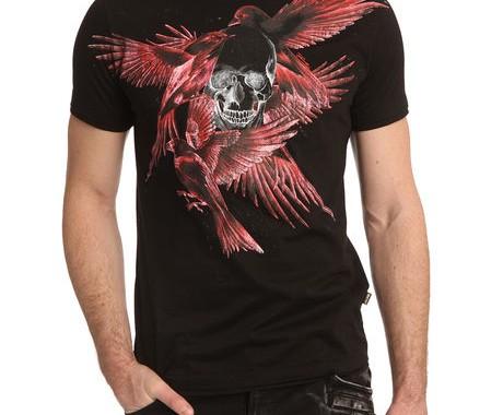 t-shirt noir oiseaux just cavalli