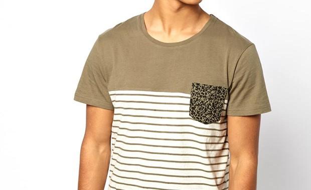 t-shirt poche rayure solid