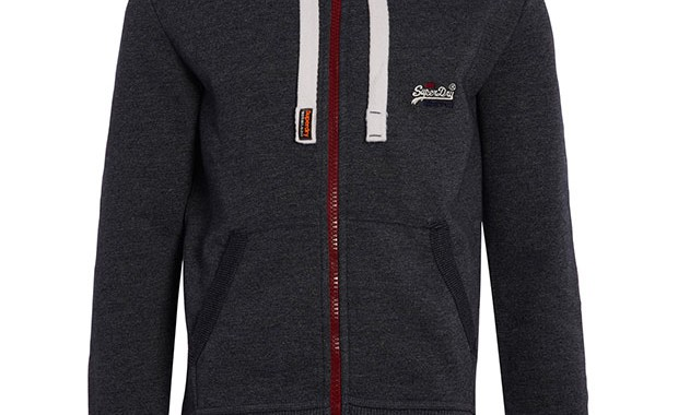 sweat zippé orange label true grit Superdry