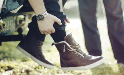 boots fourrées en cuir pour homme