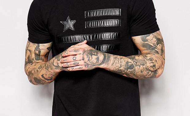 T-shirt oversize noir détails en cuir Asos