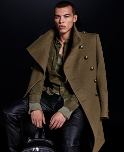 collection H&M Balmain manteau kaki