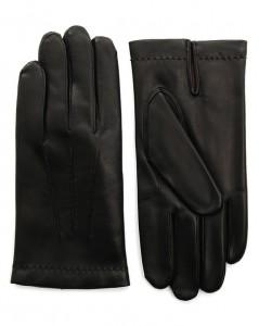 gants en cuir noir Agnelle