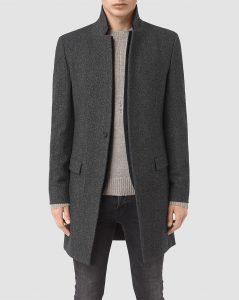 manteau en laine gris Allsaints homme