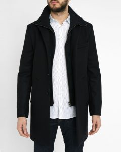 manteau en laine noir IKKS men