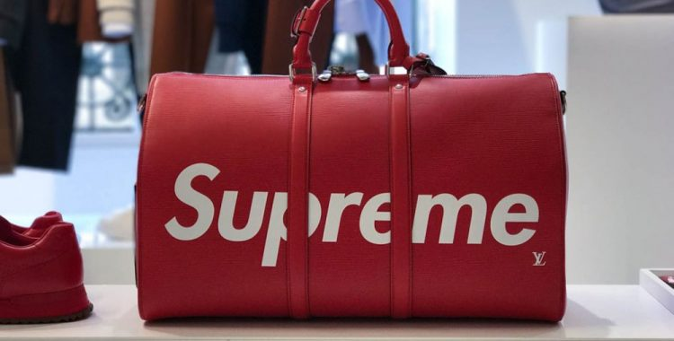 sac de voyage rouge Supreme Louis Vuitton