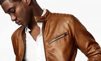 veste en cuir beige