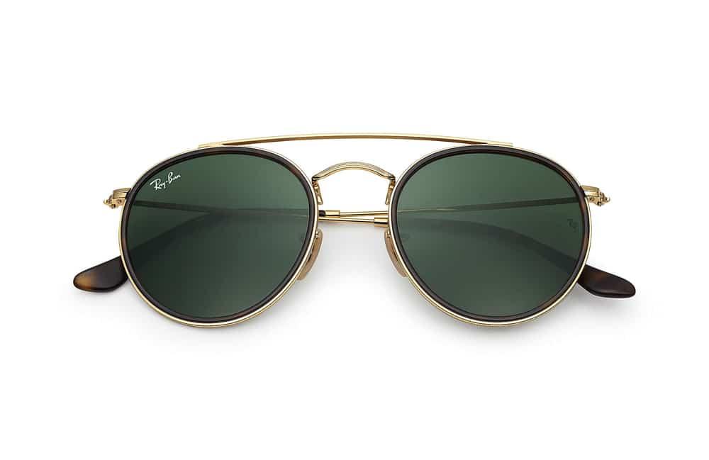 lunettes de soleil Ray-Ban Round double bridge or
