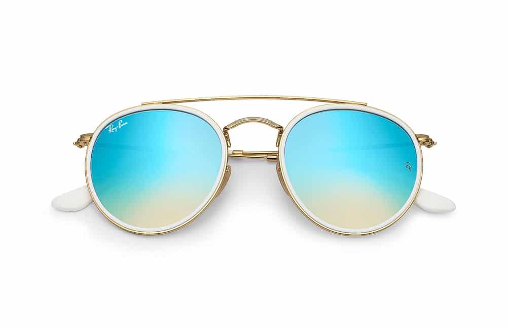 lunettes de soleil Ray-Ban Round double bridge doré