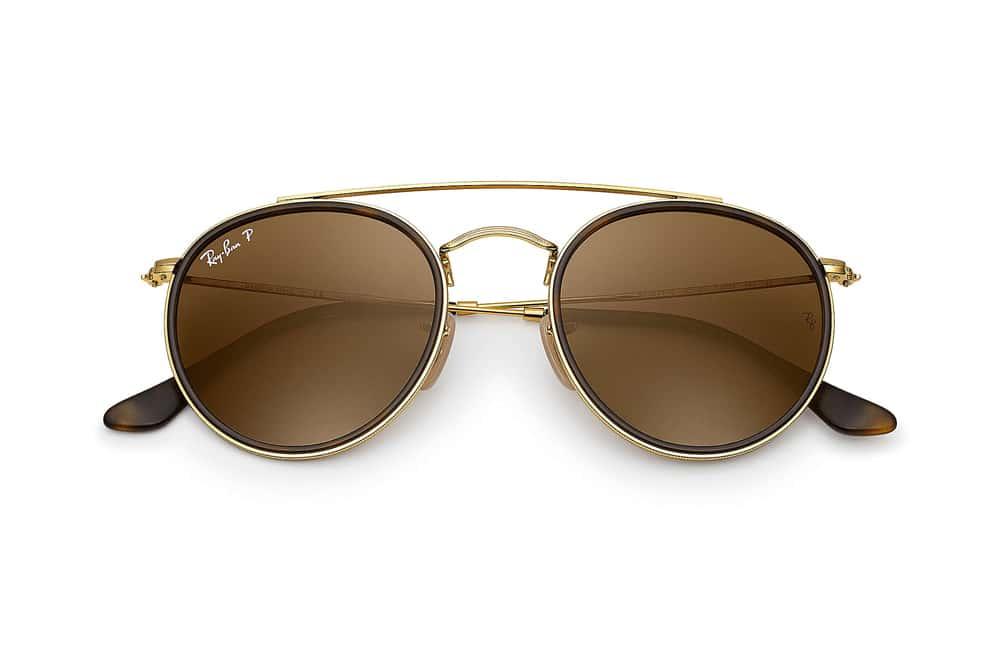 lunettes de soleil Ray-Ban Round double bridge marron havane